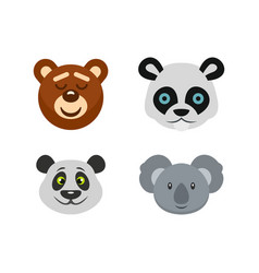 bear head icon set flat style vector image