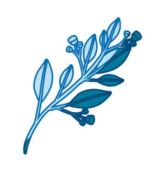 Blue silhouette of branch with leaves and small vector