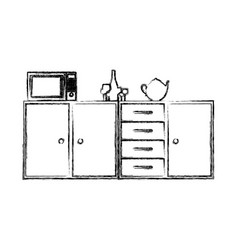 Blurred silhouette of kitchen shelf and drawers vector