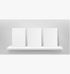 book shelf mockup bookshelf wall book front vector image