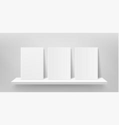 book shelf mockup bookshelf wall front vector image