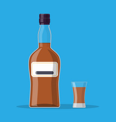bottle of rum and glass vector image