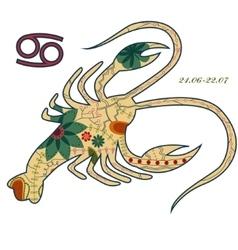 Cancer zodiac sign retro vector
