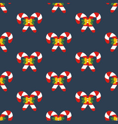 candy cane decorated with bow seamless pattern vector image