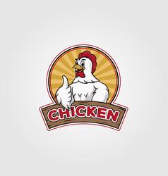 Chicken logo design cartoon on badge vector