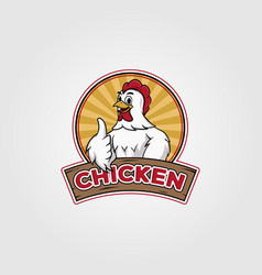 chicken logo design chicken cartoon on badge vector image