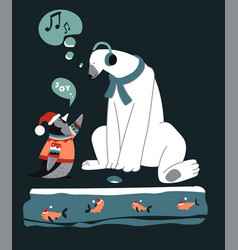 christmas characters penguin talking to polar vector image