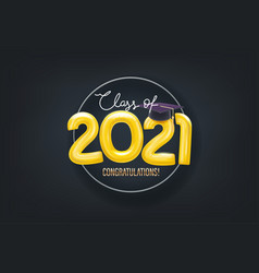class 2021 card with circle frame vector image