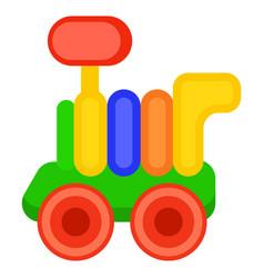 Colorful toy train wagon isolated vector