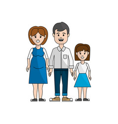 Couple with their daughter icon vector