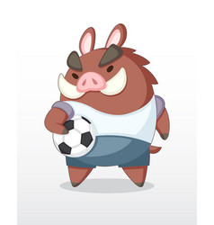 cute cartoon boar soccer player vector image