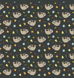Cute sloth seamless pattern cartoon hand drawn vector