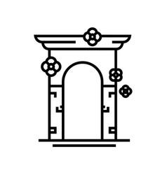 Decorative arch line icon concept sign outline vector