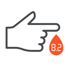 Diabetes day icon - finger with blood drop vector