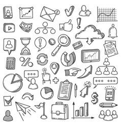 digital marketing doodle media market business vector image