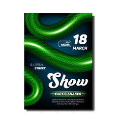 Exotic snakes show stylish advertise poster vector