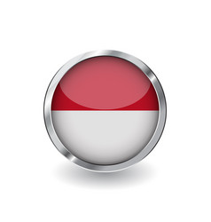 flag of monaco button with metal frame and shadow vector image