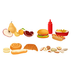 Food compositions with sugary dessert fruits and vector