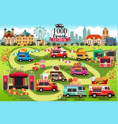 Food trucks festival map vector