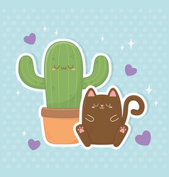 funny fantasy cat and cactus kawaii characters vector image