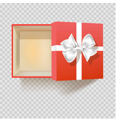 Gift box with ribbon bow empty open 3d vector