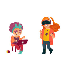 Girls using laptop virtual realisty glasses vector