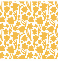 Golden yellow hand drawn daffodil silhouette vector