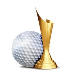 golf game award golf ball golden cup vector image