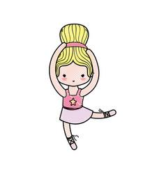 Grated girl dancing ballet with hair bun vector