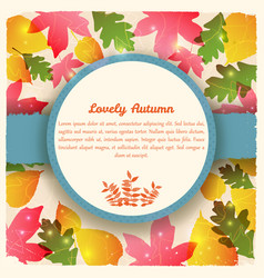 Greeting card with autumn foliage vector