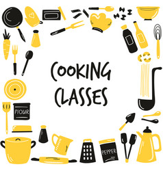 hand drawn banner background with cooking vector image