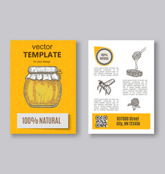 Hand drawn honey flayer templates vector
