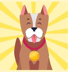 Happy dog with medal cartoon flat vector