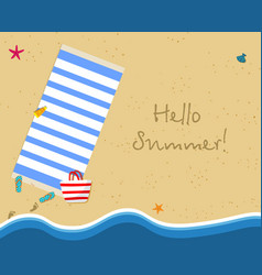 Hello summer banner top view exotic empty beach vector