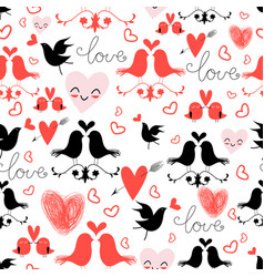 holiday pattern with love birds and hearts vector image