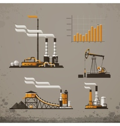 Industrial building factory and power plants icon vector image
