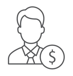 investor thin line icon finance and banking vector image