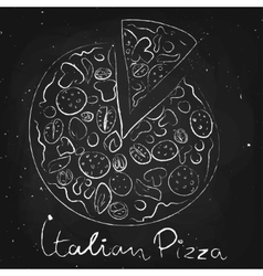 Italian pizza drawn in chalk on a blackboard vector image
