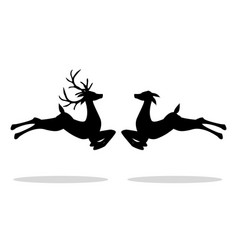 jumping male deer and female deer vector image