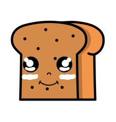 Kawaii cute happy slice bread food vector