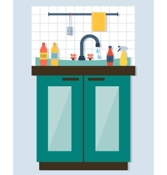 Kitchen sink with kitchenware vector image
