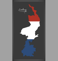 Limburg netherlands map with dutch national flag vector