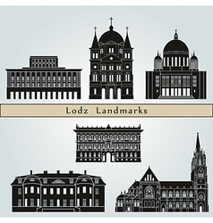 Lodz landmarks and monuments vector image