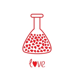 Love laboratory glass with hearts inside Thin line vector