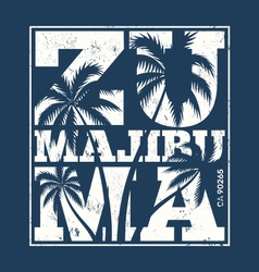 Malibu zuma beach tee print with palm trees vector