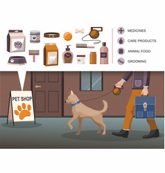man walking with dog pets accessories shop vector image