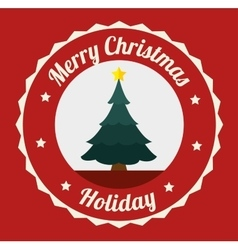Merry christmas decorative stuffs and pine tree vector image