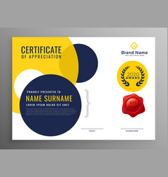 Modern diploma certificate of appreciation design vector