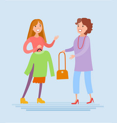 mother and daughter are shopping vector image