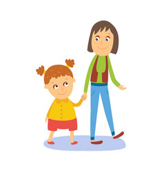 mother and daughter girl walking with her mom vector image